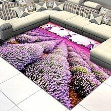 CarPET Teppich Klassisch Rechteckig lila Muster Wohnzimmer Schlafzimmer Gartenteppich (PATTERN : A, Size : 140*200)