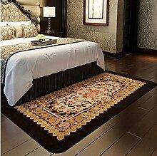 carpet Teppich, Wohnzimmer Teppich, European-style rechteckigen Teppich, Schlafzimmer Bedside Blanket, Wildleder Blumen kann gewaschen werden Bettmatten ( Farbe : A1 , größe : 90*185CM )