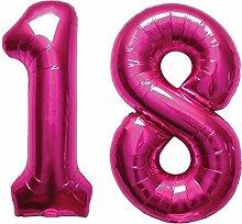 Carpeta - Folienballon-Set * Zahl 18 * in Magenta