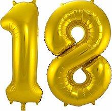 Carpeta - Folienballon * Zahl 18 * ┃ Gold ┃