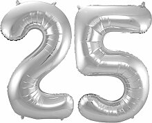 Carpeta - Folienballon * Zahl 25 * ┃ Silber ┃