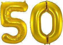 Carpeta - Folienballon * Zahl 50 * ┃ Gold ┃