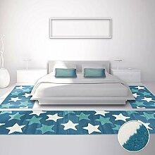 carpetcity Bettumrandung für Kinder- und Jugendzimmer, Kinderteppich Jugendteppich mit Pastellfarben, Teppich-Läufer mit Sternen-Motiv in Pastellblau, Creme, 3-teilig; 2 x 80x150 cm und 1 x 80x300 cm