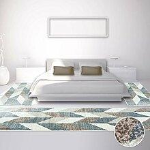 carpetcity Bettumrandung für Schlafzimmer, Flachflor in Braun, Beige, Creme mit Modernen Vintage-Design, Geometrischen Muster, 3-teilig: Läufer 2 x 80x150 cm, 1 x 80x300 cm