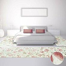 carpetcity Bettumrandung für Schlafzimmer, Flachflor in Pastellrosa, Creme mit Klassischen Blumen-Muster, Florales Design, 3-teilig: Läufer 2 x 80x150 cm, 1 x 80x300 cm