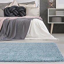 carpetcity Bettumrandung Shaggy aus hochwertigen Micro-Polyester, Hochflor Teppich-Läufer in Einfarbig/Pastell-Blau für Schlafzimmer, 3-teilig in 2 x 80x150 cm/1 x 80x300 cm