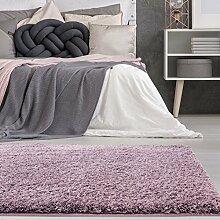 carpetcity Bettumrandung Shaggy aus hochwertigen Micro-Polyester, Hochflor Teppich-Läufer in Einfarbig/Pastell-Lila für Schlafzimmer, 3-teilig in 2 x 80x150 cm/1 x 80x300 cm