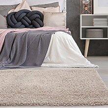 carpetcity Bettumrandung Shaggy aus hochwertigen Micro-Polyester, Hochflor Teppich-Läufer in Einfarbig/Beige für Schlafzimmer, 3-teilig in 2 x 80x150 cm/1 x 80x300 cm