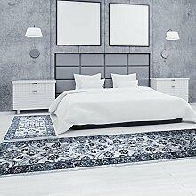 carpetcity Bettumrandung Teppich Klassisch Flachflor Inspiration Mäander Grau Schwarz Creme