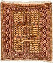 CarpetFine: Afghan Teppich 122x132 Braun -