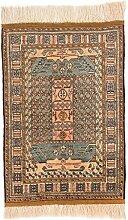CarpetFine: Afghan Teppich 78x112 Blau,Braun -