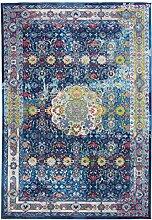 CarpetFine: Aqua Teppich 200x290 cm Blau - Bordüre