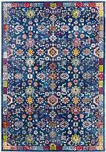 CarpetFine: Aqua Teppich 70x240 cm Blau - Floral