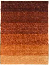Carpetfine: Handloom Lori Teppich 140x200 - Braun,Orange - Handgefertigt - Indien - Rechteck