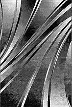 Carpetfine: Karma Schwarz 80x150 cm Teppich Schwarz 80x150 cm - Polypropylen - Maschinell geknüpft - Wellen