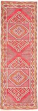 Carpetfine: Kars Teppich 77x225 - Beige,Rot - Handgeknüpft - Türkei - Läufer