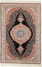 Carpetfine: Kashmir Teppich 194x291 - Beige,Pink,Schwarz - Handgeknüpft - Indien - Rechteck