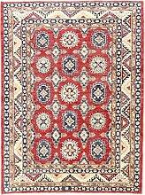 Carpetfine: Kazak Teppich 150x198 - Rot - Handgeknüpft - Pakistan - Rechteck