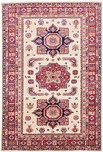 Carpetfine: Kazak Teppich 164x240 - Beige,Rot - Handgeknüpft - Pakistan - Rechteck