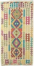 CarpetFine: Kelim Afghan Teppich 101x198 Beige -