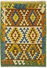 CarpetFine: Kelim Afghan Teppich 102x140 Grün -
