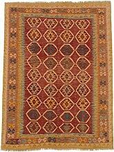 Carpetfine: Kelim Afghan Teppich 159x206 - Braun,Gelb - Handgewebt - Afghanistan - Rechteck