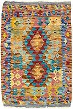 CarpetFine: Kelim Afghan Teppich 67x95 Multicolor