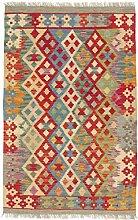 CarpetFine: Kelim Afghan Teppich 80x126 Multicolor