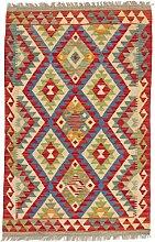 CarpetFine: Kelim Afghan Teppich 81x128 Multicolor