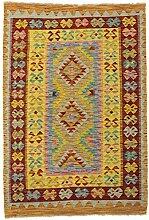 CarpetFine: Kelim Afghan Teppich 98x141 Grau -