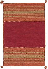 Carpetfine: Kelim Azizi Teppich Rot 90x150 cm - Baumwolle - Handgewebt - Gestreif