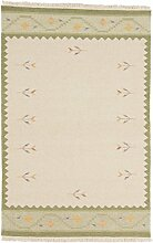 Carpetfine: Kelim Dorri Teppich Grün 145x205 cm - Wolle - Handgewebt - Floral