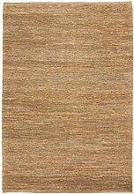 Carpetfine: Kelim Jute Teppich Beige 170x240 cm - Jute - Handgewebt - Einfarbig
