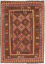 Carpetfine: Kelim Maimane Teppich 147x205 - Braun,Rot - Handgewebt - Pakistan - Rechteck