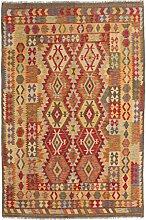 Carpetfine: Kelim Maimane Teppich 196x294 - Braun,Rot - Handgewebt - Pakistan - Rechteck