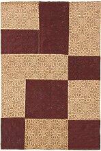 Carpetfine: Kelim Patchwork Teppich 120x170 - Braun - Handgewebt - Indien - Rechteck