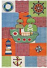 Carpetfine: Kinderteppich Pirat Teppich Multicolor 120x170 cm - Polypropylen - Maschinengewebt - Kids