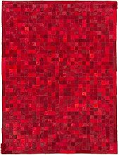 CarpetFine: Kuhfell Teppich 146x195 Rot - Karier