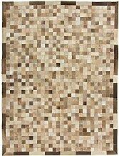CarpetFine: Kuhfell Teppich 147x197 Beige,Braun -