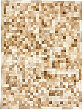 CarpetFine: Kuhfell Teppich 150x200 Beige - Karier