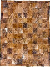 CarpetFine: Kuhfell Teppich 192x252 Braun - Karier
