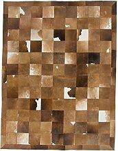 CarpetFine: Kuhfell Teppich 195x255 Beige,Braun -