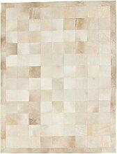 Carpetfine: Kuhfell Teppich 197x257 - Beige - Handgefertigt - Brasilien - Rechteck