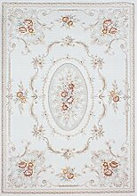 Carpetfine: Lombadi Beige 80x150 cm Teppich Beige 80x150 cm - Acryl - Maschinell geknüpft - Floral