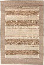Carpetfine: Loribaft Gabbeh Teppich 132x196 - Beige,Braun - Handgeknüpft - Indien - Rechteck