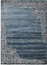 CarpetFine: Mandala Teppich 80x150 cm Blau -