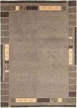 Carpetfine: Nepal Jaipur Teppich Grau 90x160 cm - Wolle - Handgeknüpft - Einfarbig