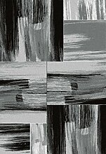 Carpetfine: Teesa Grau 80x150 cm Teppich Grau 80x150 cm - Polypropylen - Maschinell geknüpft - Abstrak