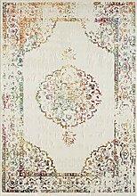CarpetFine: Vintage Holy Teppich 120x170 cm Weiß