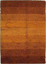 Carpetfine: Wollshaggy Teppich 150x225 - Braun - Handgefertigt - Indien - Rechteck